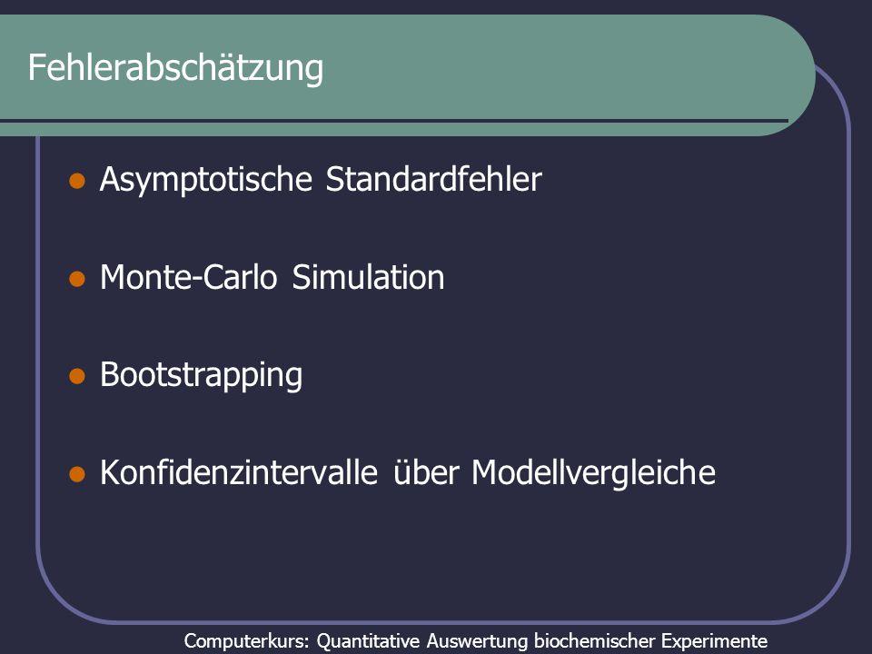 Computerkurs: Quantitative Auswertung biochemischer Experimente Fehlerabschätzung Asymptotische Standardfehler Monte-Carlo Simulation Bootstrapping Ko