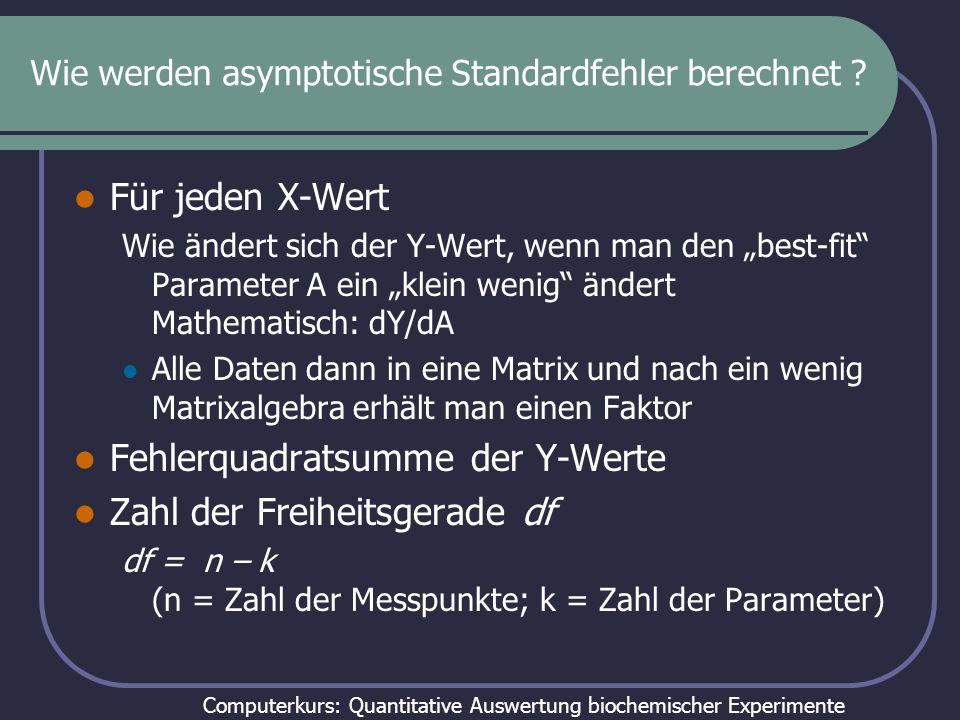 Computerkurs: Quantitative Auswertung biochemischer Experimente Wie werden asymptotische Standardfehler berechnet ? Für jeden X-Wert Wie ändert sich d