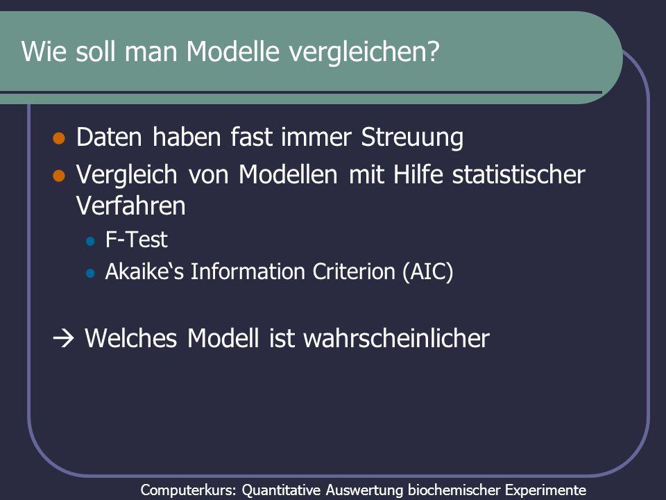 Computerkurs: Quantitative Auswertung biochemischer Experimente Modellunterscheidung durch AICc Wenn N klein gegenüber K ist: N = Zahl der Datenpunkte SS = Fehlerquadratsumme K = Zahl der Parameter + 1