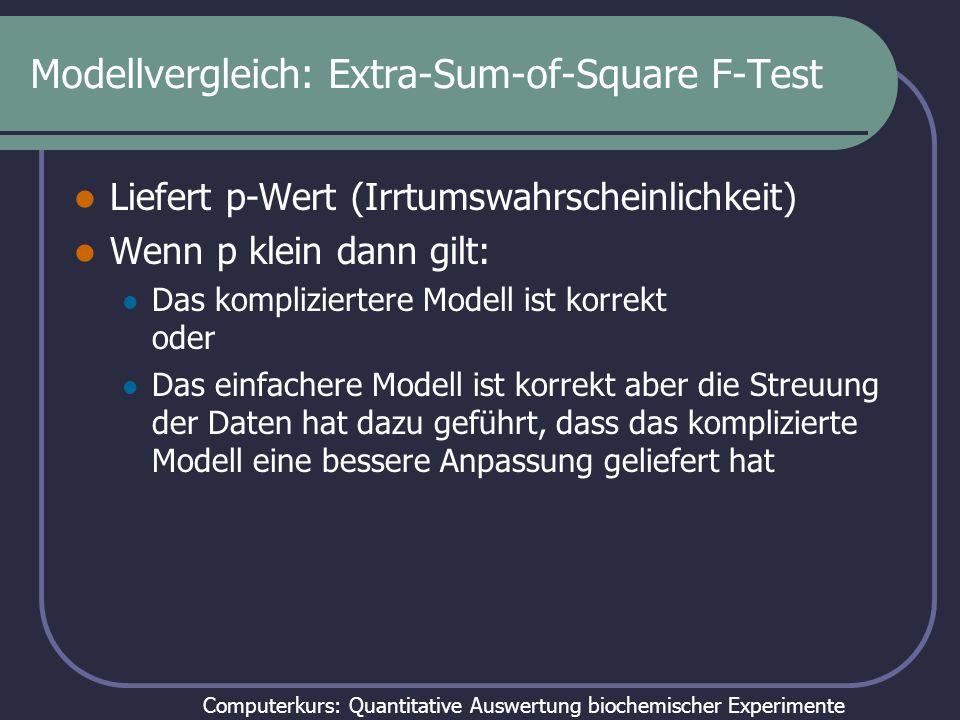 Computerkurs: Quantitative Auswertung biochemischer Experimente F-Test zum Modellvergleich SS = Fehlerquadratsumme DF = Freiheitsgrade (n-k) Aus :http://www.graphpad.com/manuals/Prism4/RegressionBook.pdf