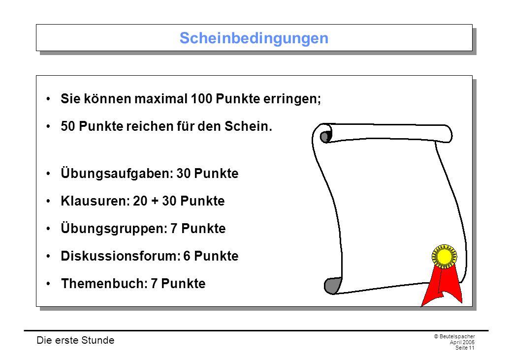 Die erste Stunde © Beutelspacher April 2005 Seite 11 Scheinbedingungen Sie können maximal 100 Punkte erringen; 50 Punkte reichen für den Schein.
