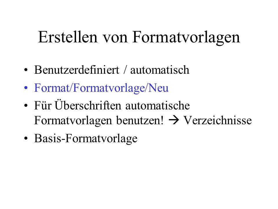 Erstellen von Formatvorlagen Benutzerdefiniert / automatisch Format/Formatvorlage/Neu Für Überschriften automatische Formatvorlagen benutzen! Verzeich