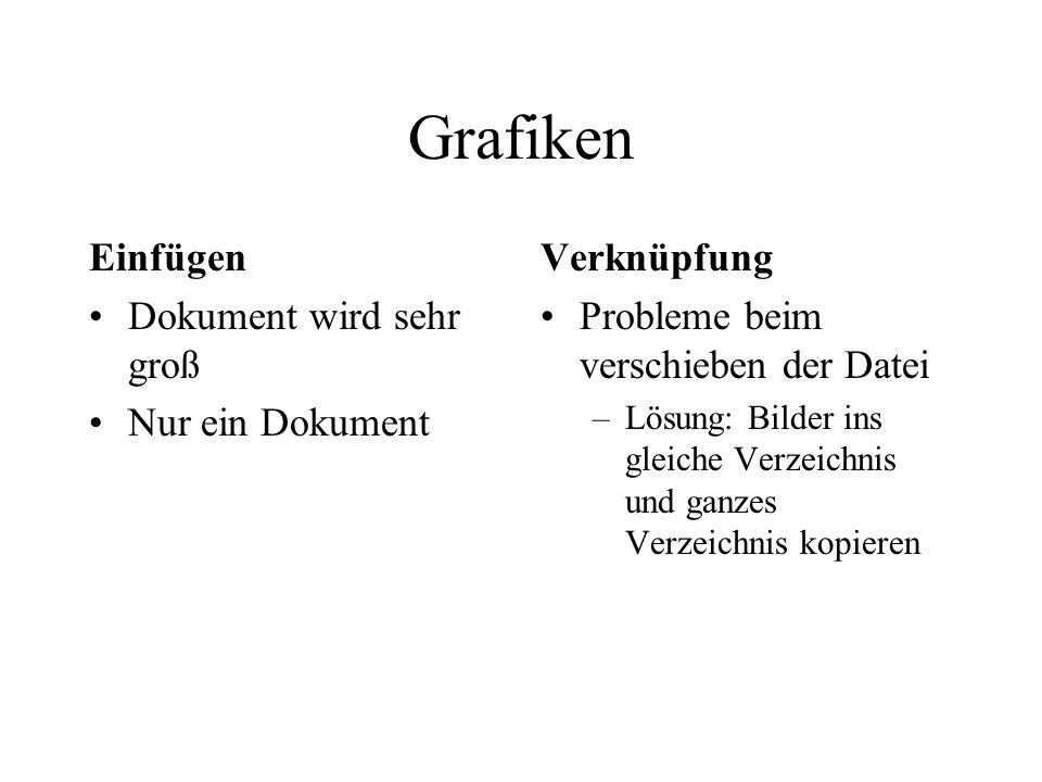 Grafiken Einfügen Dokument wird sehr groß Nur ein Dokument Verknüpfung Probleme beim verschieben der Datei –Lösung: Bilder ins gleiche Verzeichnis und