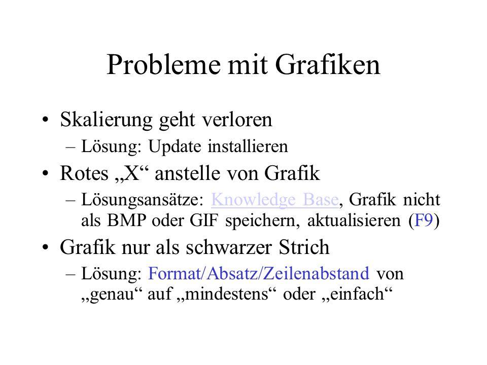 Probleme mit Grafiken Skalierung geht verloren –Lösung: Update installieren Rotes X anstelle von Grafik –Lösungsansätze: Knowledge Base, Grafik nicht