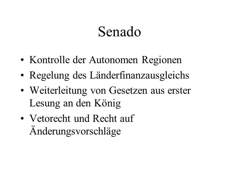 Senado Kontrolle der Autonomen Regionen Regelung des Länderfinanzausgleichs Weiterleitung von Gesetzen aus erster Lesung an den König Vetorecht und Re