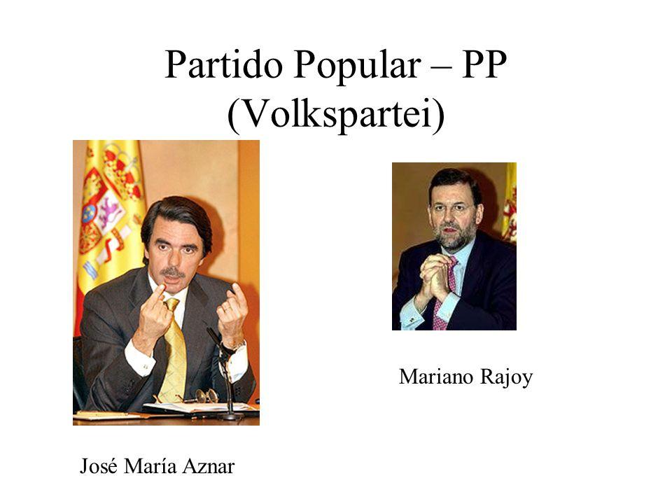 Partido Popular – PP (Volkspartei) Mariano Rajoy José María Aznar