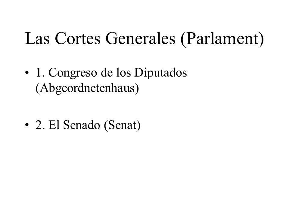 Las Cortes Generales (Parlament) 1. Congreso de los Diputados (Abgeordnetenhaus) 2. El Senado (Senat)