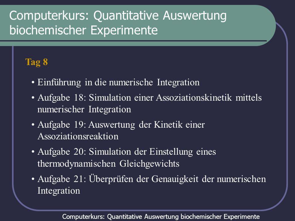 Computerkurs: Quantitative Auswertung biochemischer Experimente Tag 8 Einführung in die numerische Integration Aufgabe 18: Simulation einer Assoziatio