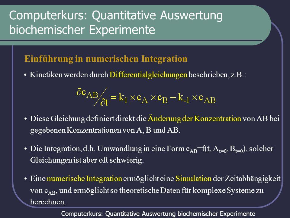Computerkurs: Quantitative Auswertung biochemischer Experimente Einführung in numerischen Integration Kinetiken werden durch Differentialgleichungen b