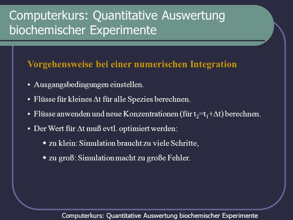 Computerkurs: Quantitative Auswertung biochemischer Experimente Vorgehensweise bei einer numerischen Integration Ausgangsbedingungen einstellen. Flüss