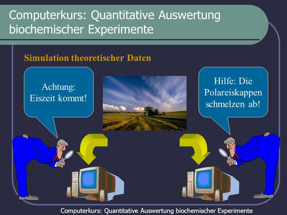 Computerkurs: Quantitative Auswertung biochemischer Experimente Simulation theoretischer Daten Hilfe: Die Polareiskappen schmelzen ab! Achtung: Eiszei