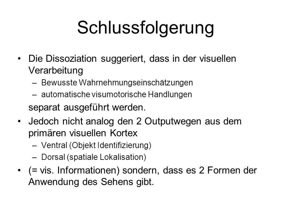 Schlussfolgerung Die Dissoziation suggeriert, dass in der visuellen Verarbeitung –Bewusste Wahrnehmungseinschätzungen –automatische visumotorische Han