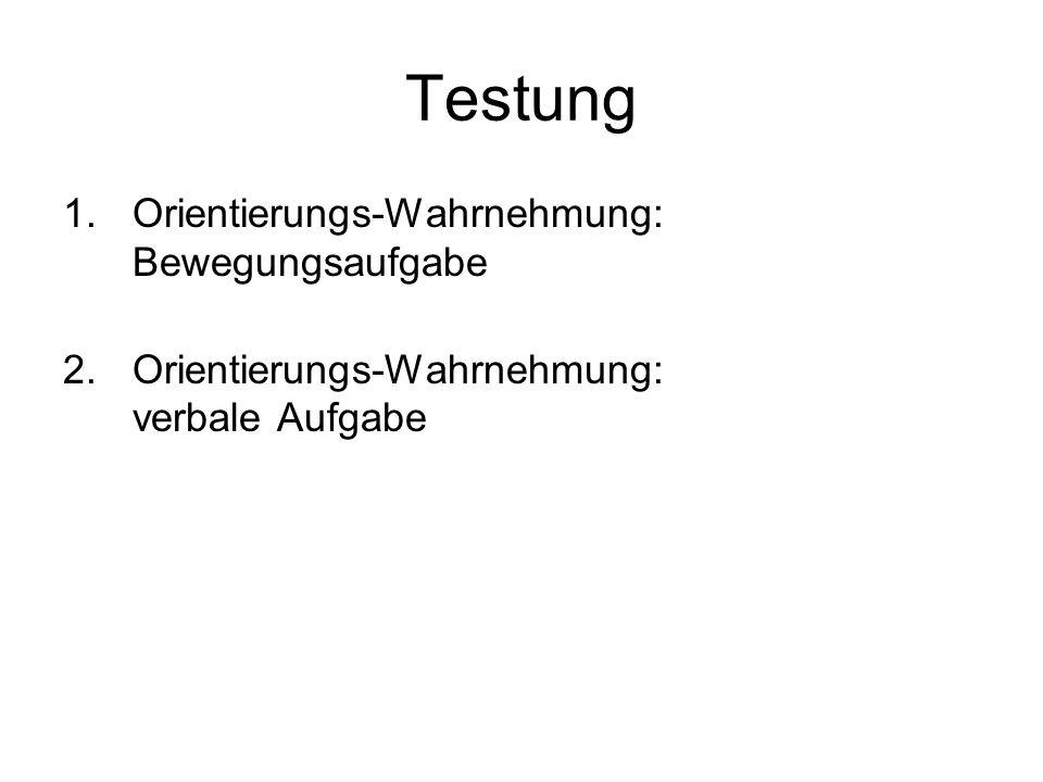 Testung 1.Orientierungs-Wahrnehmung: Bewegungsaufgabe 2.Orientierungs-Wahrnehmung: verbale Aufgabe