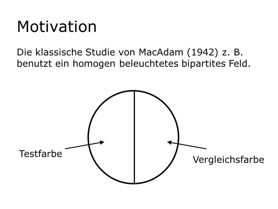 Motivation Die klassische Studie von MacAdam (1942) z. B. benutzt ein homogen beleuchtetes bipartites Feld. Testfarbe Vergleichsfarbe