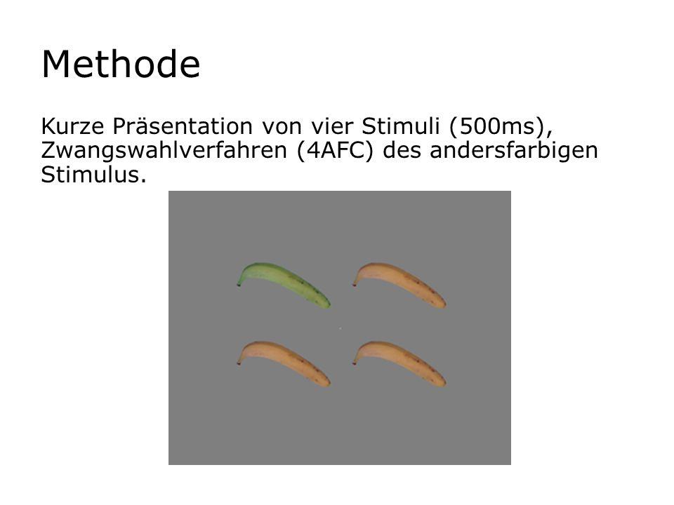 Methode Kurze Präsentation von vier Stimuli (500ms), Zwangswahlverfahren (4AFC) des andersfarbigen Stimulus.