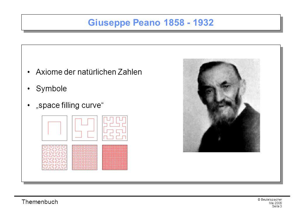 Themenbuch © Beutelspacher Mai 2005 Seite 3 Giuseppe Peano 1858 - 1932 Axiome der natürlichen Zahlen Symbole space filling curve Axiome der natürlichen Zahlen Symbole space filling curve