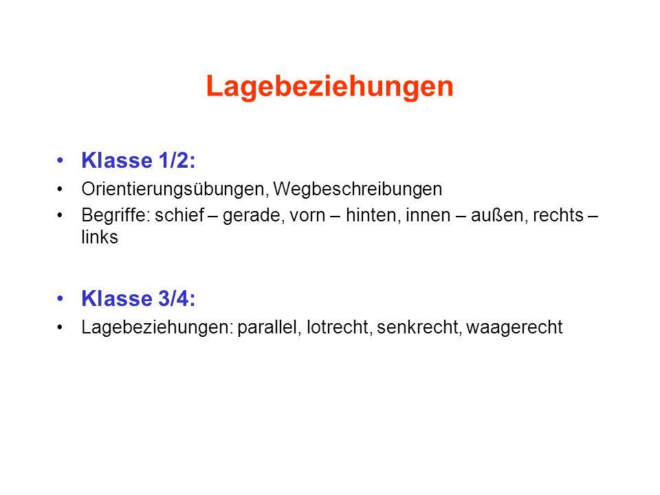 Lagebeziehungen Klasse 1/2: Orientierungsübungen, Wegbeschreibungen Begriffe: schief – gerade, vorn – hinten, innen – außen, rechts – links Klasse 3/4