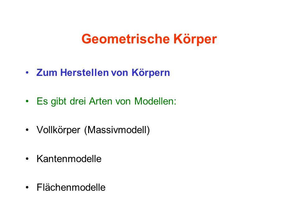 Geometrische Körper Zum Herstellen von Körpern Es gibt drei Arten von Modellen: Vollkörper (Massivmodell) Kantenmodelle Flächenmodelle