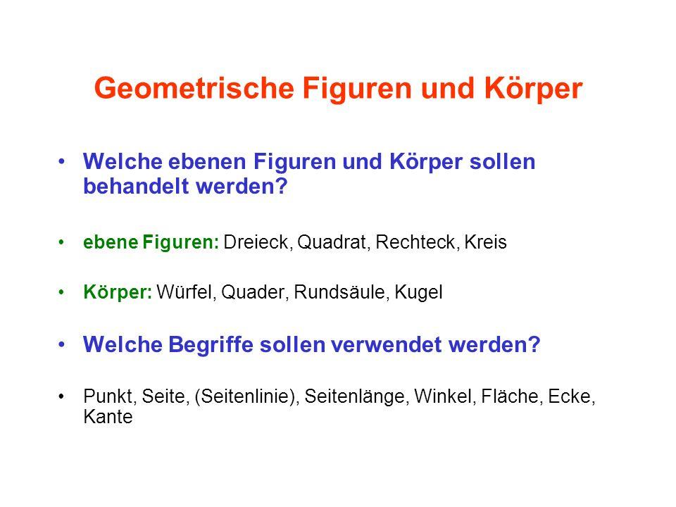 Geometrische Figuren und Körper Welche ebenen Figuren und Körper sollen behandelt werden? ebene Figuren: Dreieck, Quadrat, Rechteck, Kreis Körper: Wür
