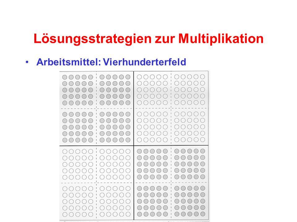 Lösungsstrategien zur Multiplikation Arbeitsmittel: Vierhunderterfeld