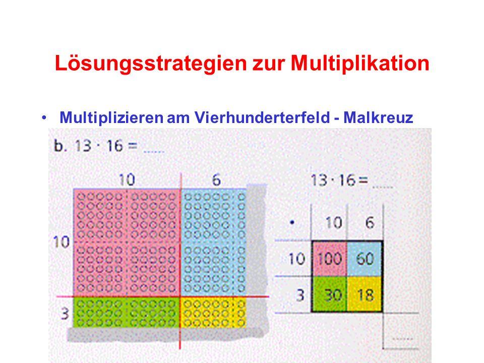 Lösungsstrategien zur Multiplikation Multiplizieren am Vierhunderterfeld - Malkreuz