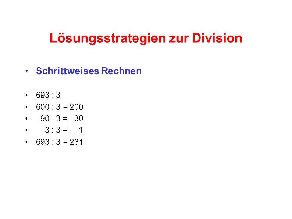 Lösungsstrategien zur Division Schrittweises Rechnen 693 : 3 600 : 3 = 200 90 : 3 = 30 3 : 3 = 1 693 : 3 = 231