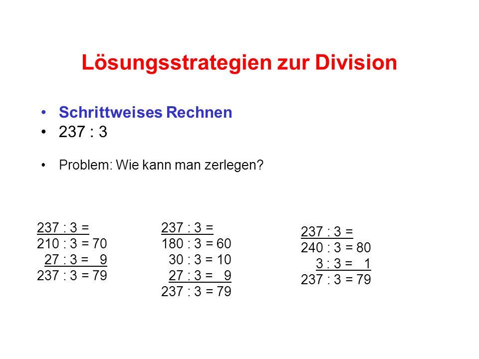 Lösungsstrategien zur Division Schrittweises Rechnen 237 : 3 Problem: Wie kann man zerlegen.