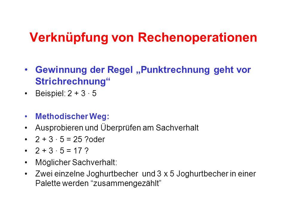 Verknüpfung von Rechenoperationen Gewinnung der Regel Punktrechnung geht vor Strichrechnung Beispiel: 2 + 3 · 5 Methodischer Weg: Ausprobieren und Überprüfen am Sachverhalt 2 + 3 · 5 = 25 ?oder 2 + 3 · 5 = 17 .