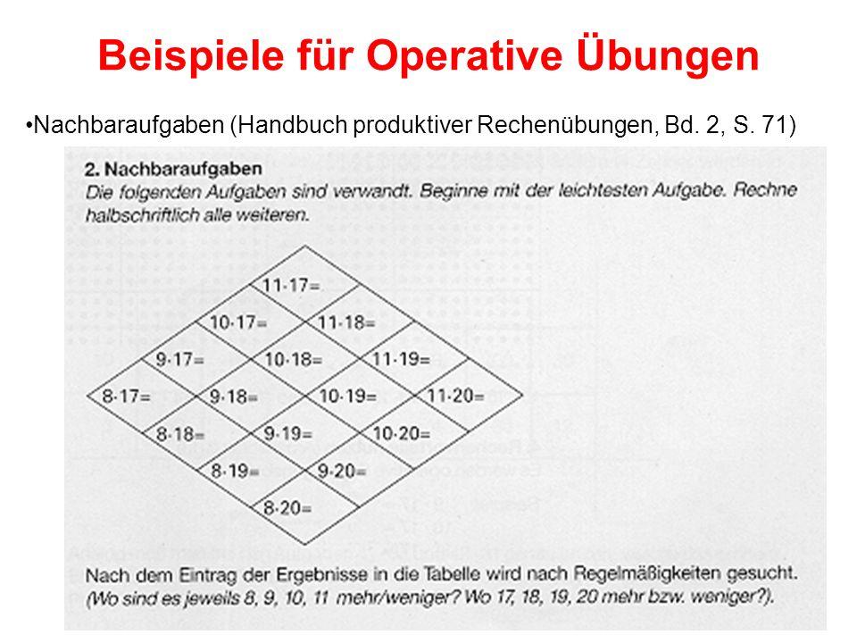 Beispiele für Operative Übungen Nachbaraufgaben (Handbuch produktiver Rechenübungen, Bd. 2, S. 71)