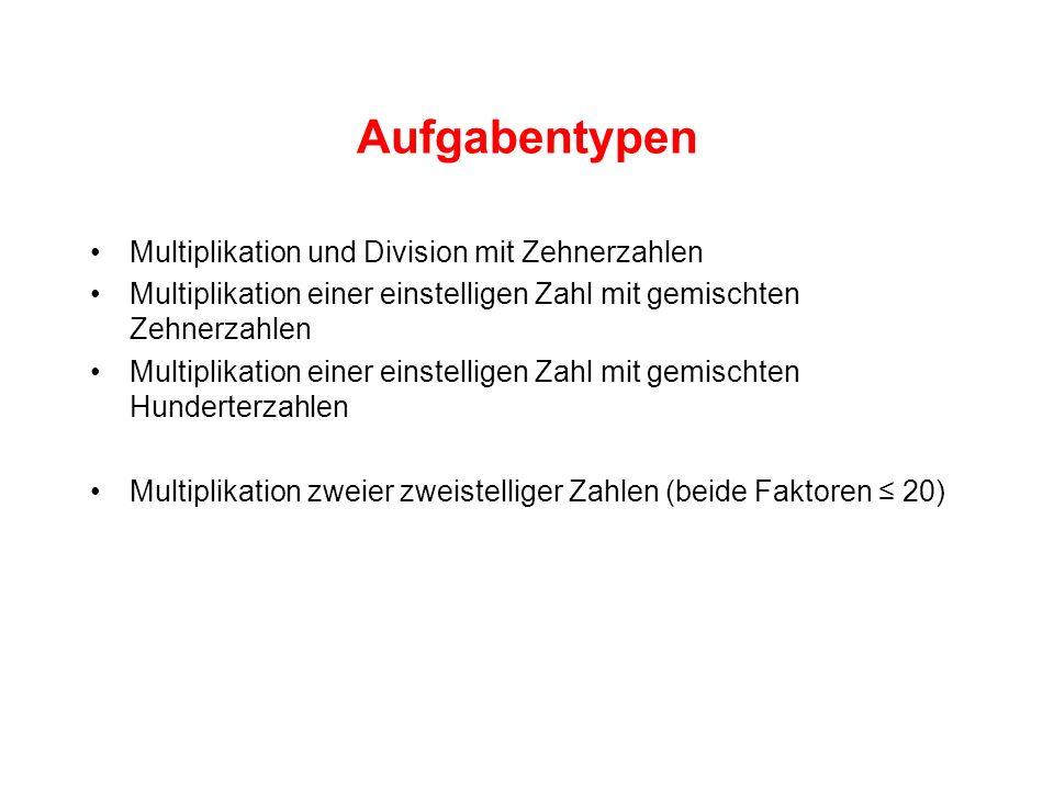 Aufgabentypen Multiplikation und Division mit Zehnerzahlen Multiplikation einer einstelligen Zahl mit gemischten Zehnerzahlen Multiplikation einer einstelligen Zahl mit gemischten Hunderterzahlen Multiplikation zweier zweistelliger Zahlen (beide Faktoren 20)