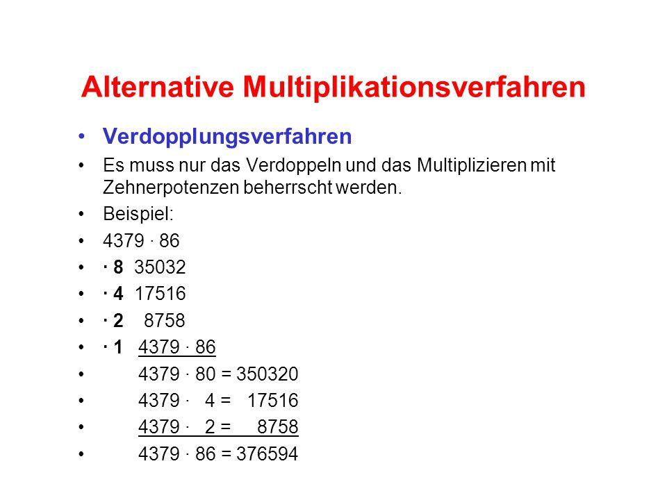 Alternative Multiplikationsverfahren Verdopplungsverfahren Es muss nur das Verdoppeln und das Multiplizieren mit Zehnerpotenzen beherrscht werden.