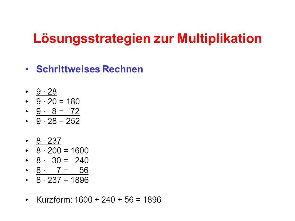 Lösungsstrategien zur Multiplikation Schrittweises Rechnen 9 · 28 9 · 20 = 180 9 · 8 = 72 9 · 28 = 252 8 · 237 8 · 200 = 1600 8 · 30 = 240 8 · 7 = 56 8 · 237 = 1896 Kurzform: 1600 + 240 + 56 = 1896