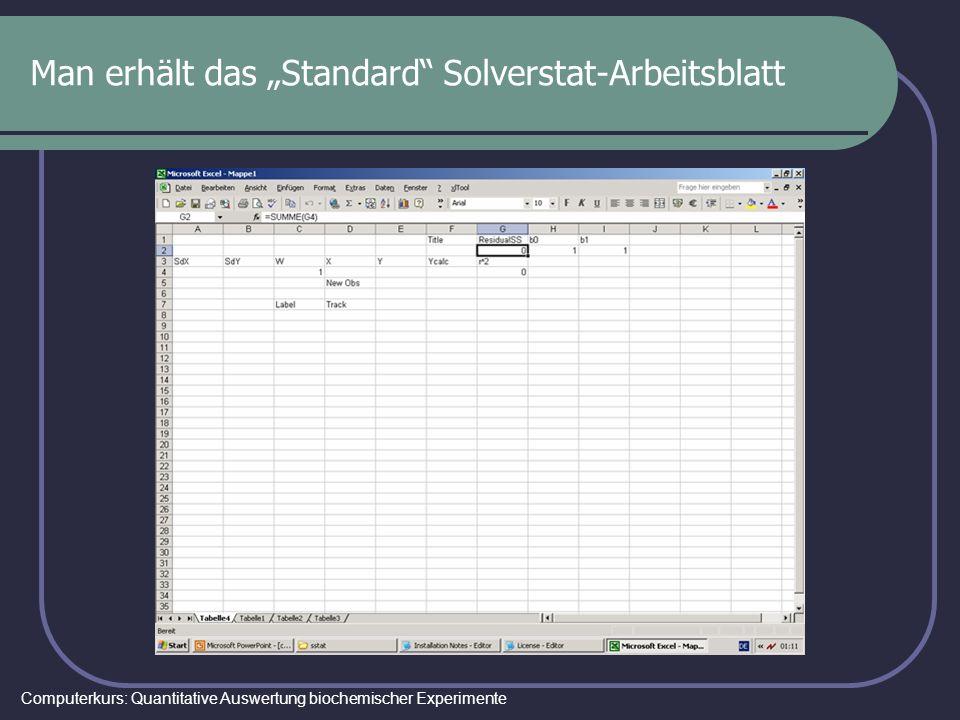 Computerkurs: Quantitative Auswertung biochemischer Experimente Man erhält das Standard Solverstat-Arbeitsblatt