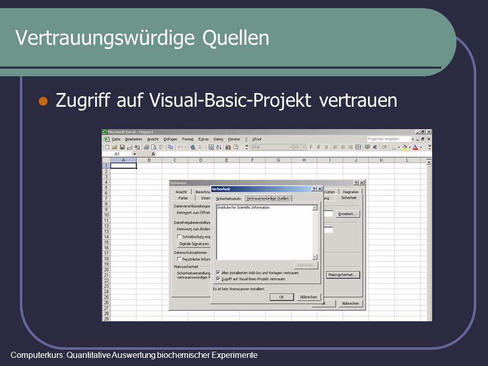 Computerkurs: Quantitative Auswertung biochemischer Experimente Vertrauungswürdige Quellen Zugriff auf Visual-Basic-Projekt vertrauen