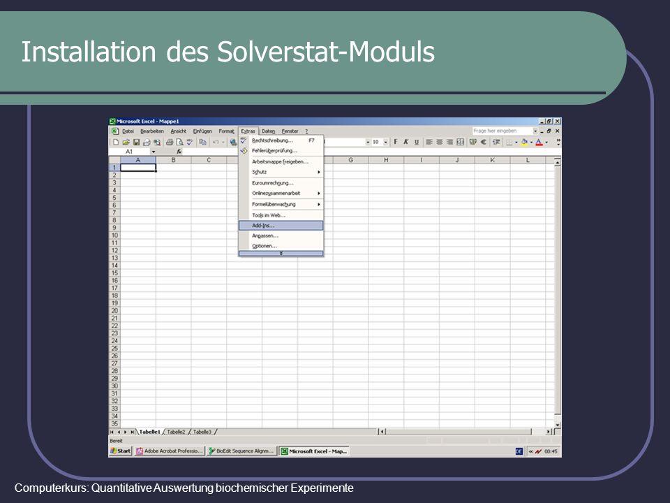 Computerkurs: Quantitative Auswertung biochemischer Experimente Installation des Solverstat-Moduls