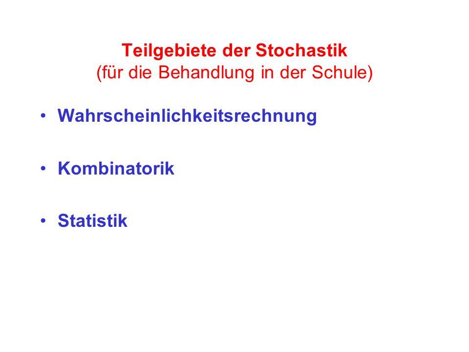 Teilgebiete der Stochastik (für die Behandlung in der Schule) Wahrscheinlichkeitsrechnung Kombinatorik Statistik