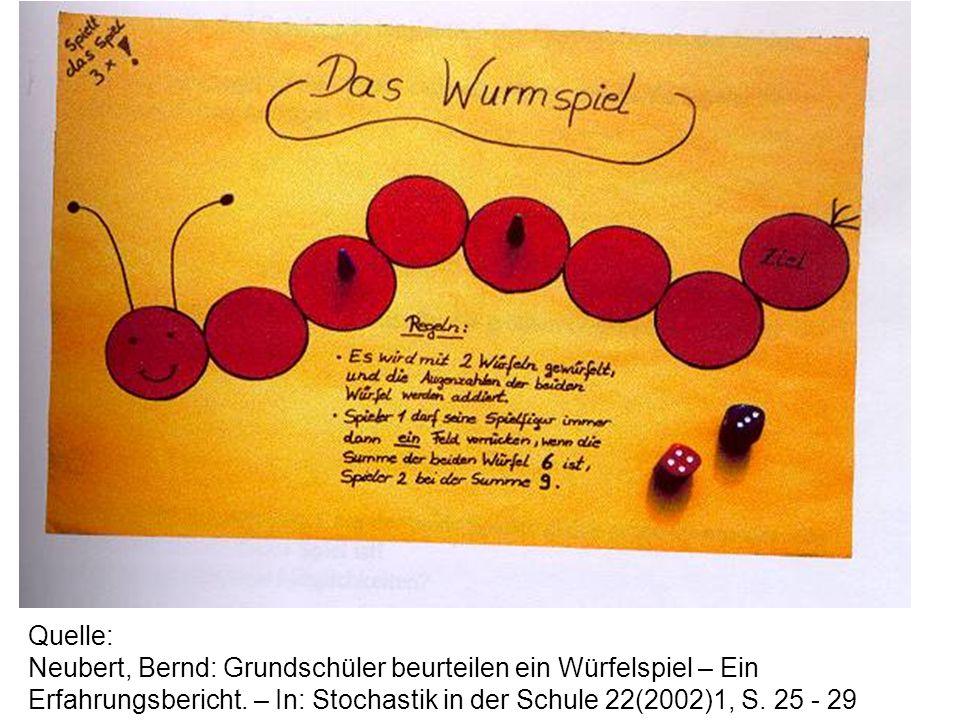 Quelle: Neubert, Bernd: Grundschüler beurteilen ein Würfelspiel – Ein Erfahrungsbericht. – In: Stochastik in der Schule 22(2002)1, S. 25 - 29