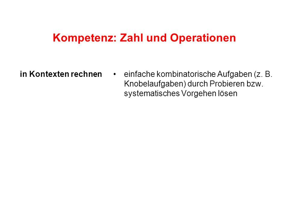 Kompetenz: Zahl und Operationen einfache kombinatorische Aufgaben (z. B. Knobelaufgaben) durch Probieren bzw. systematisches Vorgehen lösen in Kontext