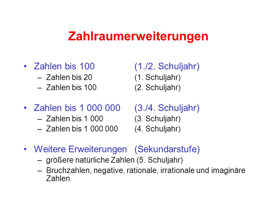 Zahlraumerweiterungen Zahlen bis 100 (1./2. Schuljahr) –Zahlen bis 20 (1. Schuljahr) –Zahlen bis 100 (2. Schuljahr) Zahlen bis 1 000 000(3./4. Schulja