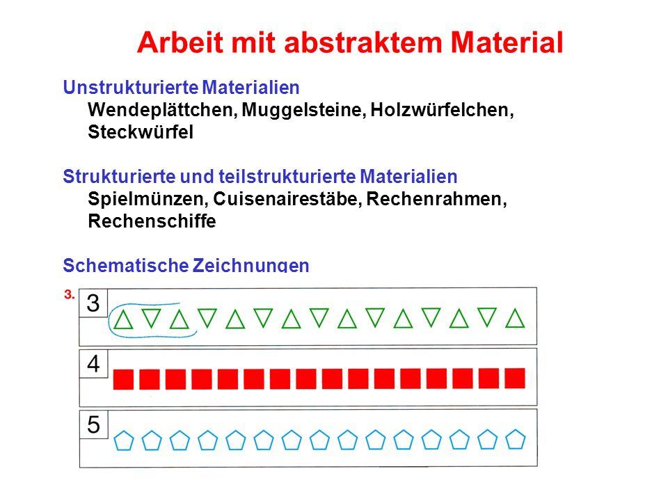 Arbeit mit abstraktem Material Unstrukturierte Materialien Wendeplättchen, Muggelsteine, Holzwürfelchen, Steckwürfel Strukturierte und teilstrukturier
