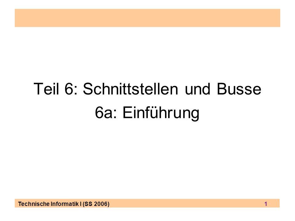 Technische Informatik I (SS 2006) 32 Serielle Busse: Begriffe (1) Serielle Übertragung: nur eine Datenleitung, d.h.
