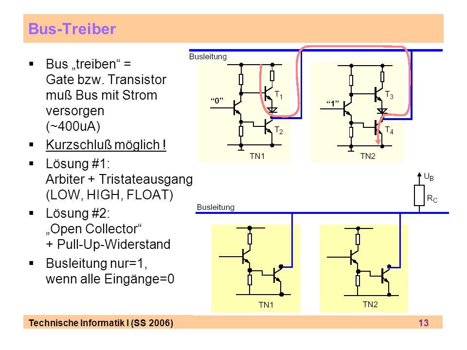 Technische Informatik I (SS 2006) 13 Bus-Treiber Bus treiben = Gate bzw. Transistor muß Bus mit Strom versorgen (~400uA) Kurzschluß möglich ! Lösung #