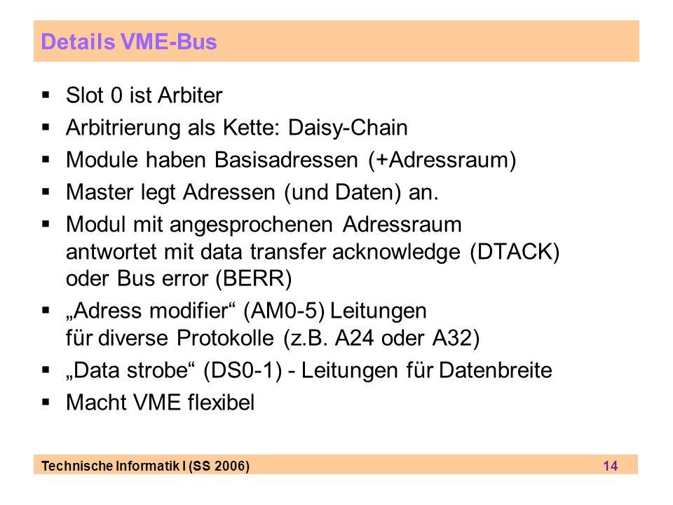 Technische Informatik I (SS 2006) 14 Details VME-Bus Slot 0 ist Arbiter Arbitrierung als Kette: Daisy-Chain Module haben Basisadressen (+Adressraum) Master legt Adressen (und Daten) an.