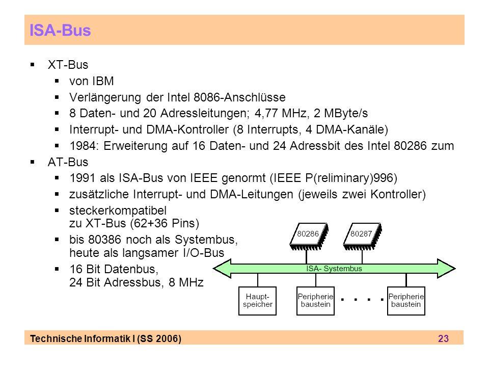 Technische Informatik I (SS 2006) 23 ISA-Bus XT-Bus von IBM Verlängerung der Intel 8086-Anschlüsse 8 Daten- und 20 Adressleitungen; 4,77 MHz, 2 MByte/s Interrupt- und DMA-Kontroller (8 Interrupts, 4 DMA-Kanäle) 1984: Erweiterung auf 16 Daten- und 24 Adressbit des Intel 80286 zum AT-Bus 1991 als ISA-Bus von IEEE genormt (IEEE P(reliminary)996) zusätzliche Interrupt- und DMA-Leitungen (jeweils zwei Kontroller) steckerkompatibel zu XT-Bus (62+36 Pins) bis 80386 noch als Systembus, heute als langsamer I/O-Bus 16 Bit Datenbus, 24 Bit Adressbus, 8 MHz