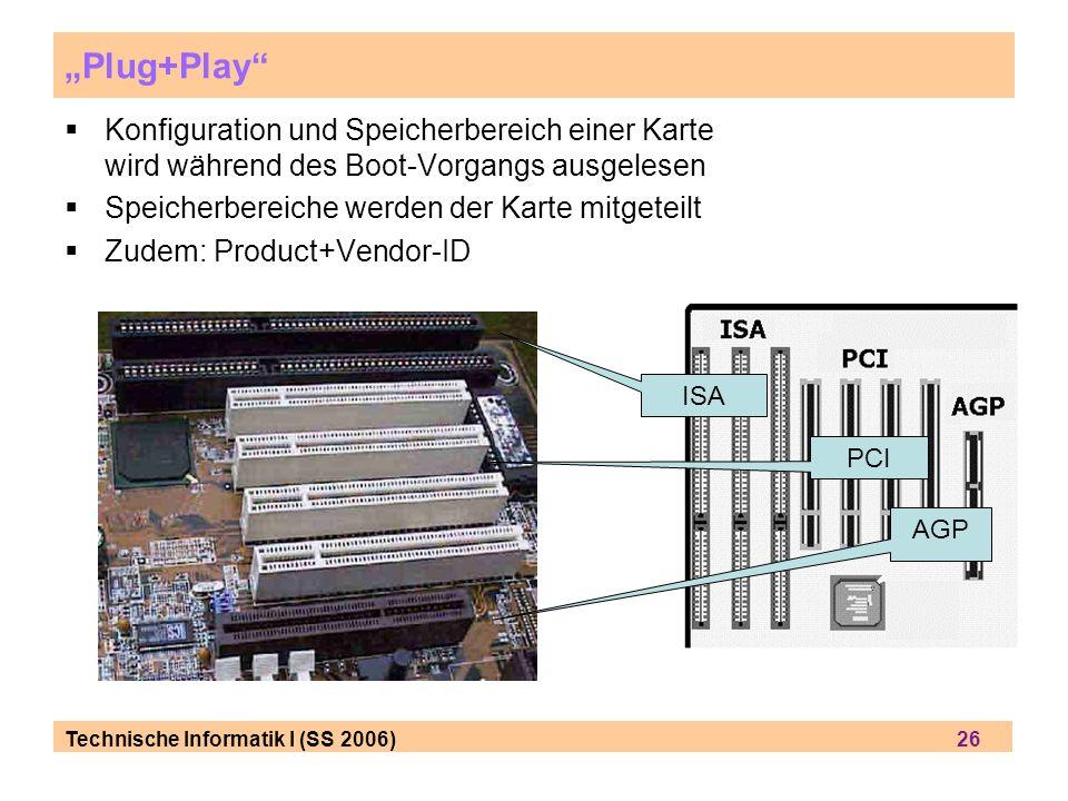 Technische Informatik I (SS 2006) 26 Plug+Play Konfiguration und Speicherbereich einer Karte wird während des Boot-Vorgangs ausgelesen Speicherbereich