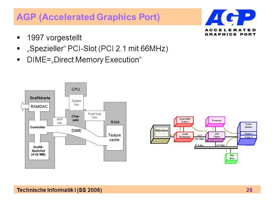Technische Informatik I (SS 2006) 28 AGP (Accelerated Graphics Port) 1997 vorgestellt Spezieller PCI-Slot (PCI 2.1 mit 66MHz) DIME=Direct Memory Execu