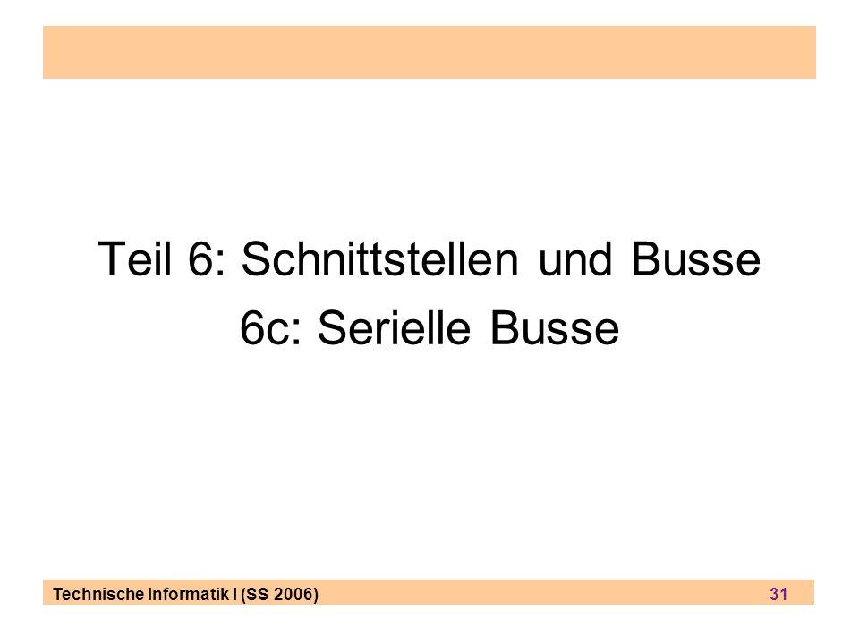 Technische Informatik I (SS 2006) 31 Teil 6: Schnittstellen und Busse 6c: Serielle Busse