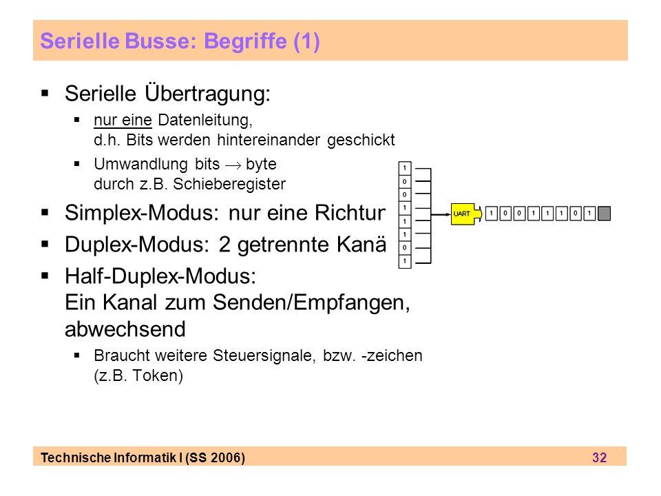 Technische Informatik I (SS 2006) 32 Serielle Busse: Begriffe (1) Serielle Übertragung: nur eine Datenleitung, d.h. Bits werden hintereinander geschic