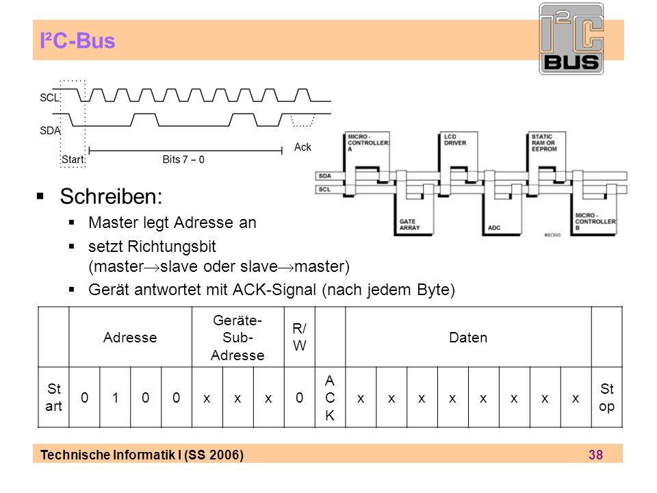 Technische Informatik I (SS 2006) 38 I²C-Bus Schreiben: Master legt Adresse an setzt Richtungsbit (master slave oder slave master) Gerät antwortet mit ACK-Signal (nach jedem Byte) Adresse Geräte- Sub- Adresse R/ W Daten St art 0100xxx0 ACKACK xxxxxxxx St op