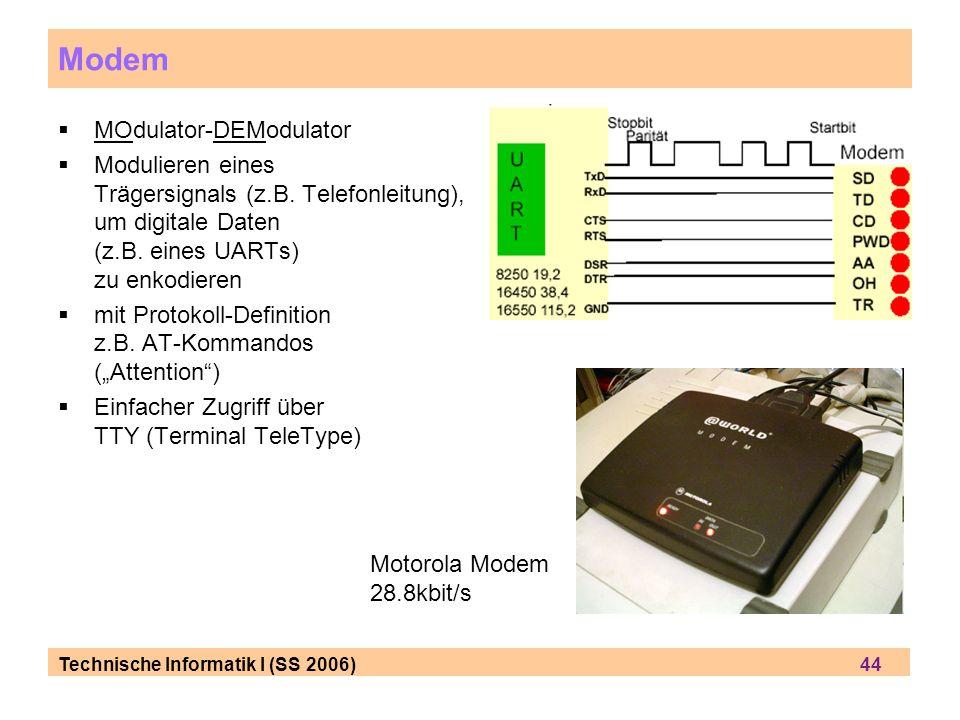Technische Informatik I (SS 2006) 44 Modem MOdulator-DEModulator Modulieren eines Trägersignals (z.B. Telefonleitung), um digitale Daten (z.B. eines U